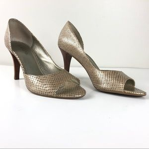 Metallic Leather Snakeskin d'Orsay Peep Toe Pumps